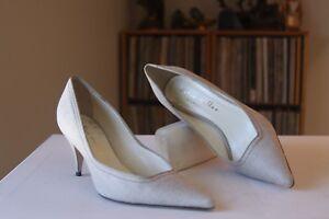 Bettye Muller Natural Beige Fabric 3 Inch Heel Pointed Toe Pumps ...