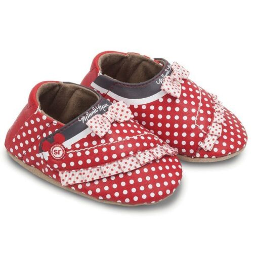 NIB Disney Minnie Mouse Crib Shoes STRIDE RITE Red White Dots 0-3m 3-6m 6-12m
