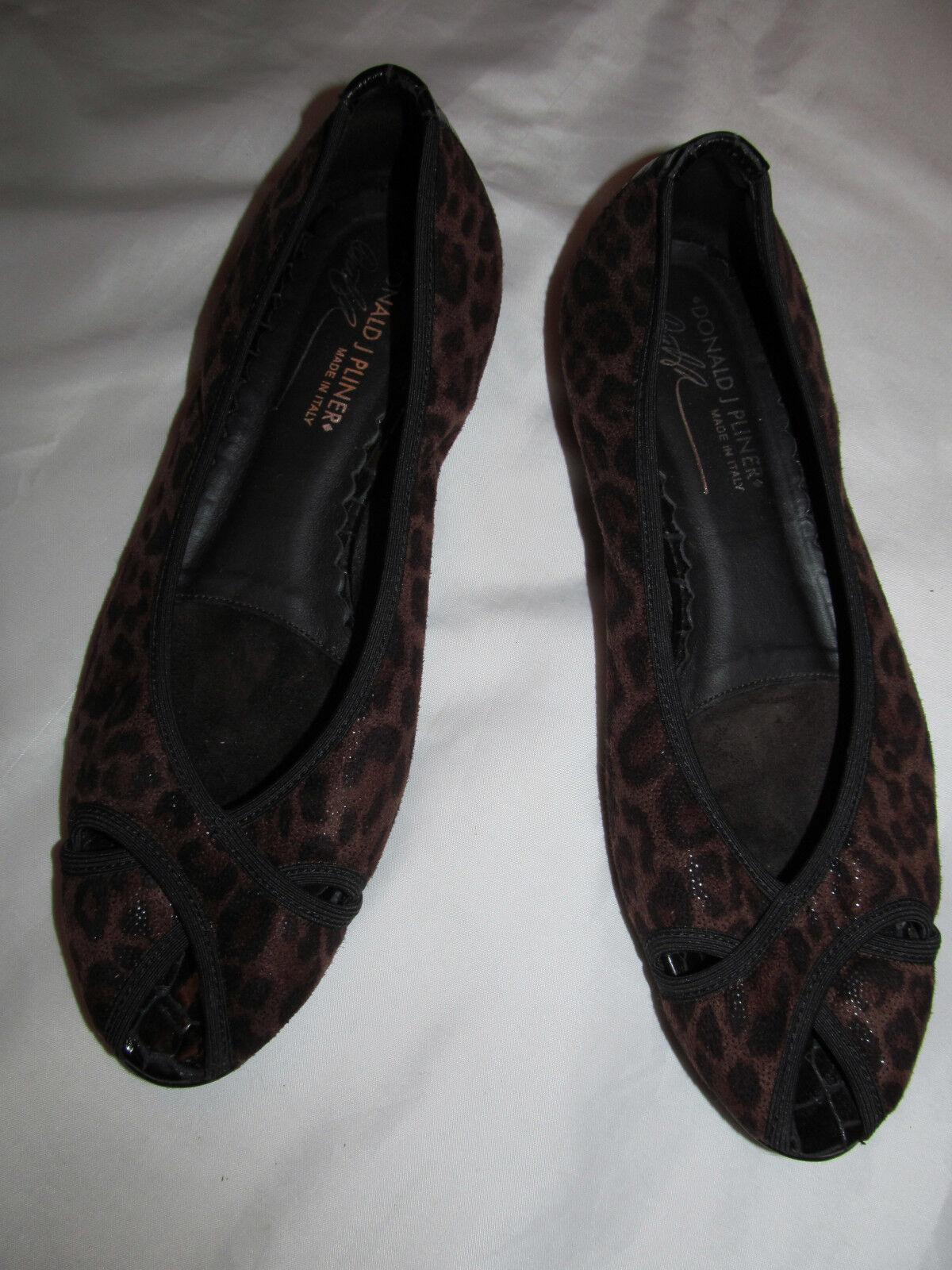 DONALD J PLINER GLORIA leopard  shimmer suede like fabric peep toe flats shoes