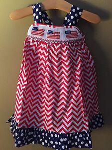 Smocked a lot girls bishop dress - Girls 6 Months Boutique Smocked A Lot Dress New July 4th Flag Chevron