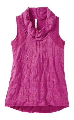 Top Long Top Sheego fuchsia pink Baumwolle Spitze Wasserfallkragen Gr 40 44