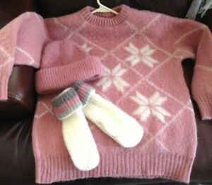 Icelandic-Wool-Ski-Sweater-size-Med-Pink-Cream-Nordic-w-Beanie-and-Mittens-set