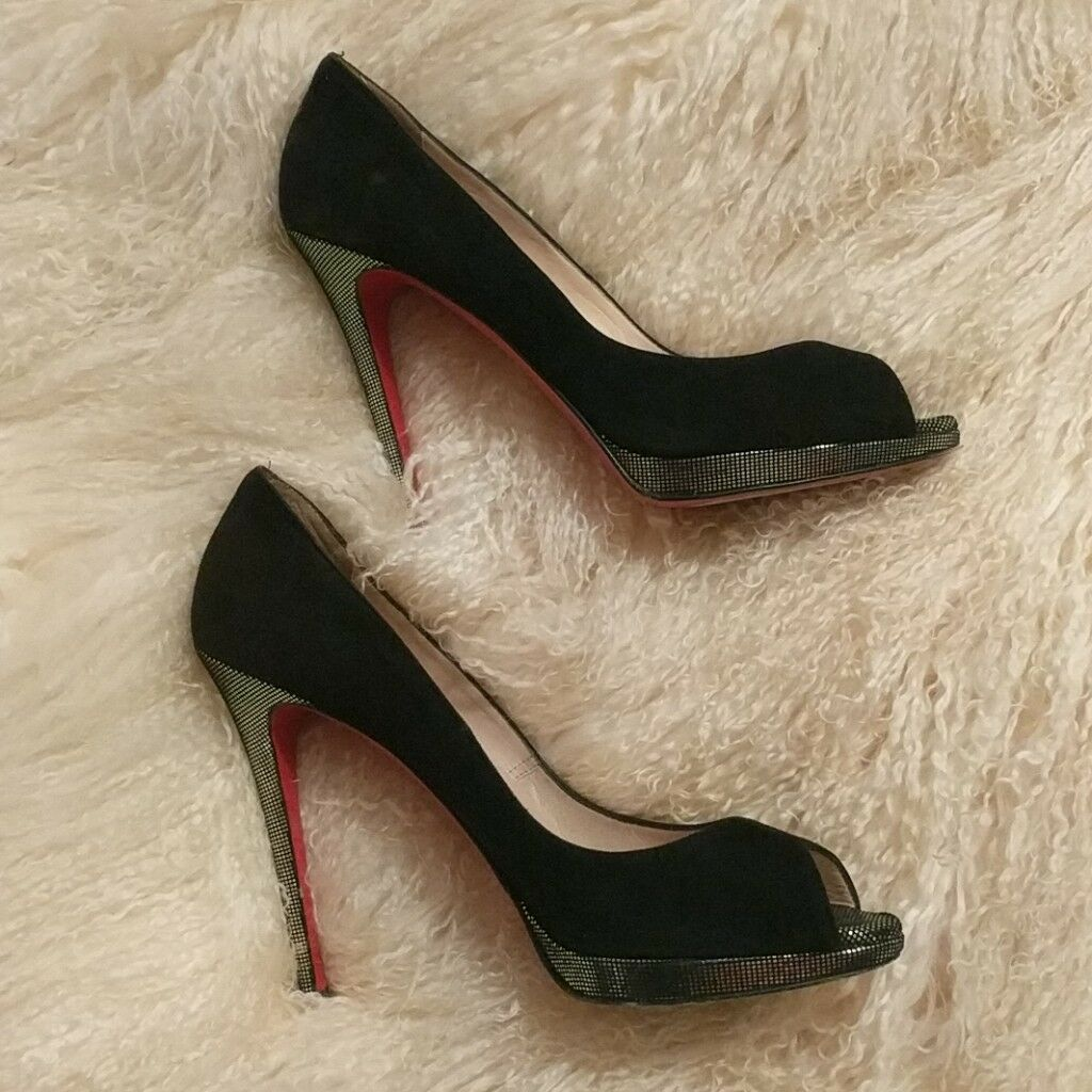Rare Christian louboutin 40.5 black heels with silver silver silver sparkle c4d7f8