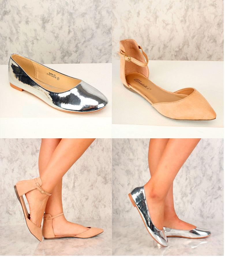 Nuevo Lote Sexy Sexy Sexy Plata Beige y Correa en el Tobillo Zapatos Ballerina Zapatos de tacón Puntiagudo Metálico Punta rojoonda  Seleccione de las marcas más nuevas como