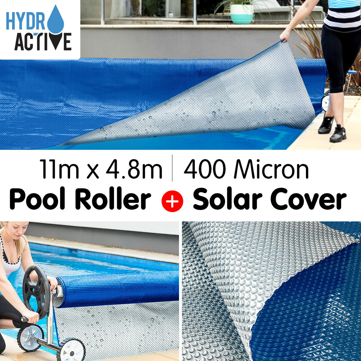 400 Micron 11m x 4.8m SOLAR SWIMMING POOL COVER BUBBLE BLANKET ROLLER HEATER