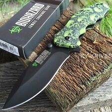 """8"""" Green Zombie Tactical Survival Spring Assisted Open Pocket Knife Combat -m"""