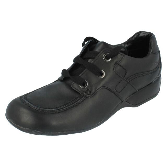 Girls Clarks Black Leather Lace Up School Shoe Uk 7 G Fit Dazzledust