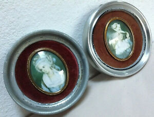Victorian-Style-Convex-Bubble-Glass-Portrait-Small-Round-Framed-Wall-Hanging