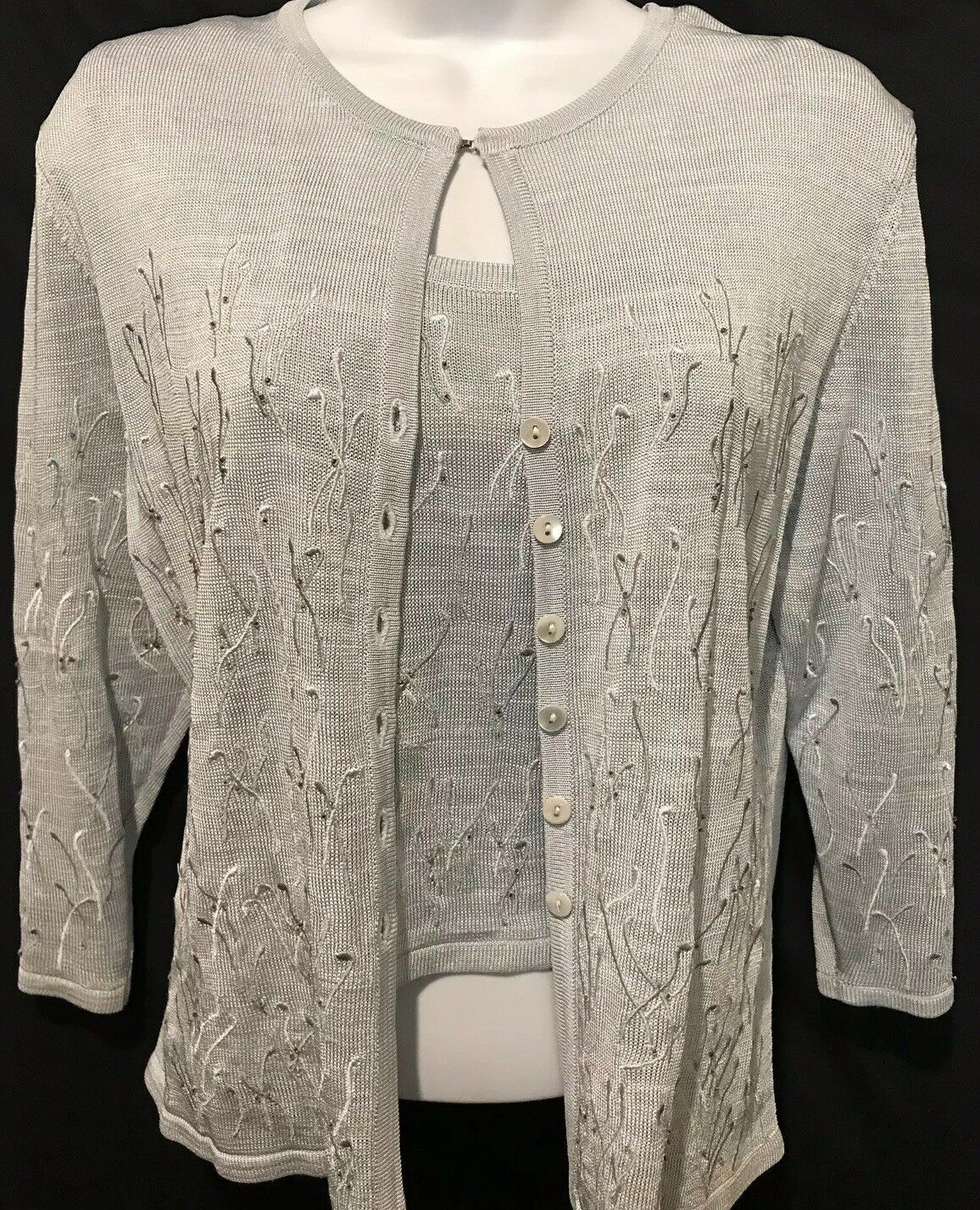 CLASSIQUE ENTIER Sweater Nordstrom Twinset bluee Petite Beaded Embroidered Sz M