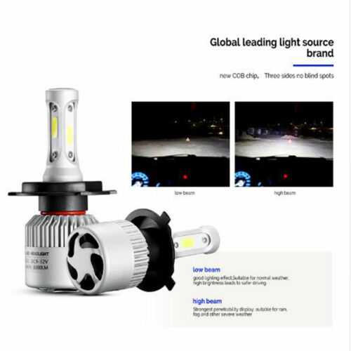 Pair H8 H9 H11 30000LM 300W 2-Sides LED Headlight Kit LOW Beam Bulbs 6000K White