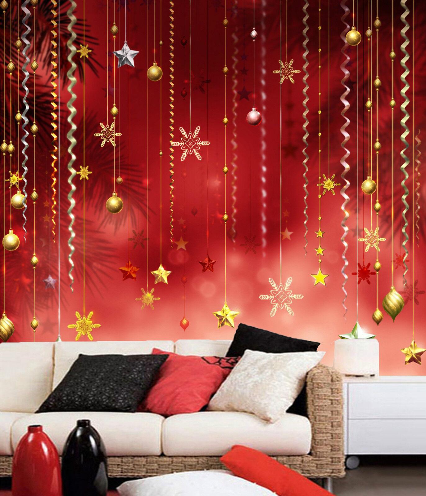 3D Christmas hanging stars WallPaper Murals Wall Print Decal Wall AJ WALLPAPER