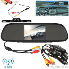 "4.3"" LCD Screen Car Rear View Backup Mirror Monitor+Wireless Reverse IR Camera"