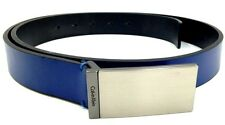 $125 CALVIN KLEIN Men BLUE LEATHER PLAQUE LOGO BUCKLE CASUAL DRESS BELT SIZE 36