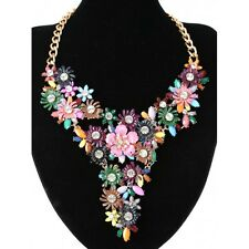 Beautiful Bright Multi Coloured Pointed Diamante Flower Statement Necklace