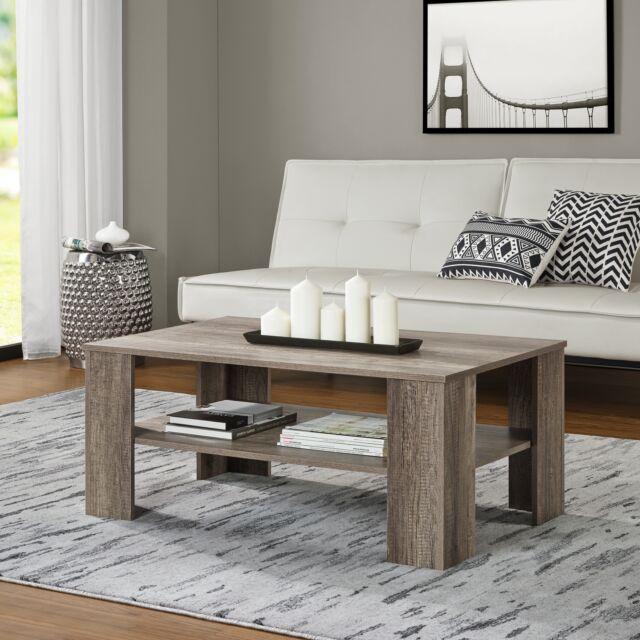 [en.casa] Table basse chêne vieux 100x60cm de salon d'appoint bois