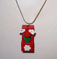 Lego Brick Block Red/ Flowers Necklace Girl Silver Chain- Flower Box Necklace