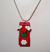 2 Lego Brick Block Red/ Flowers Necklace Girl Silver Chain- Flower Box Necklace