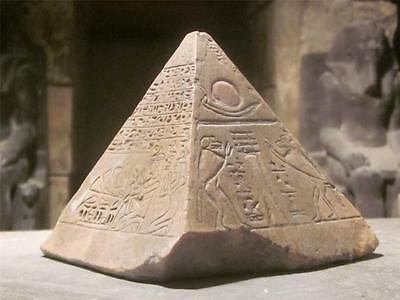 Egyptian Pyramid / capstone museum replica - featuring Thoth & the boat of Ra