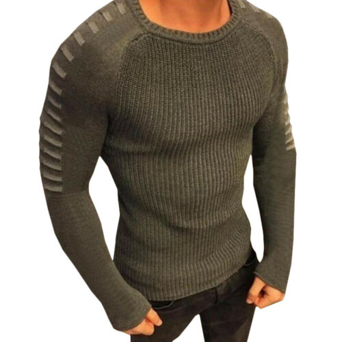 Mens Long Sleeve Crew Neck Jumper Knitted Casuall Sweater Slim Fit Pullover Tops