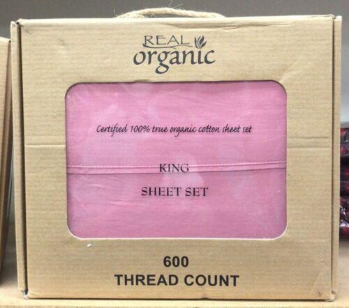 Salmon King 4PCs Organic Cotton Bed Sheet Set 600 TC