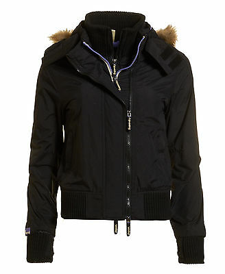 SUPERDRY New Ladies Hooded Fur Windbomber Jacket Size S BNWT!