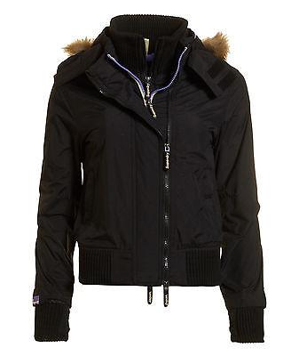 SUPERDRY New Ladies Hooded Fur Windbomber Jacket Size S BNWT!