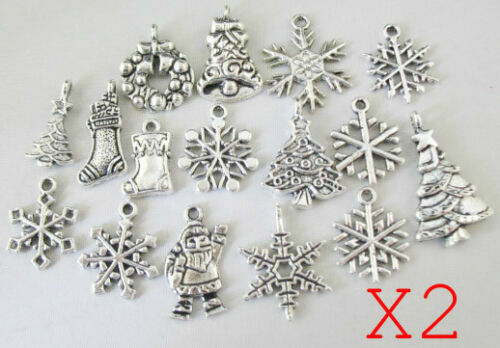 Hot Sale 32PC Assorted Stlyes Antiqued Silver Metal Christmas charm