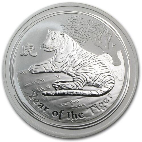 Perth Mint Australia 2010 $2 Lunar Series II Tiger 2 oz .999 Silver Coin