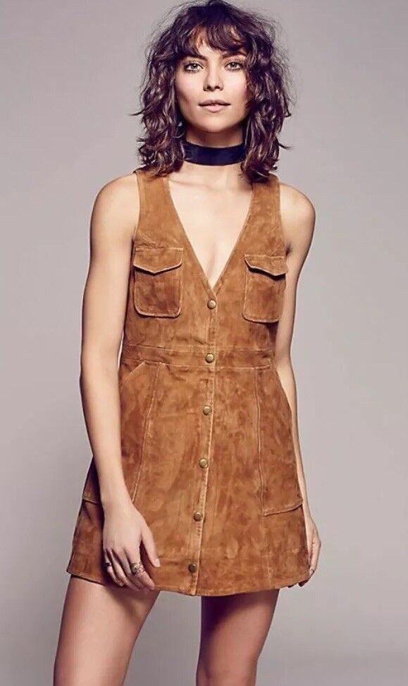 New Free People Retro Suede Jumper Dress Size S Retro Inspired Tan