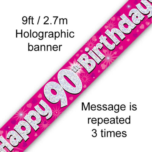 HAPPY BIRTHDAY AGE BANNERS PINK HEARTS GIRLS HOLOGRAPHIC  9FT LONG PARTY BANNER