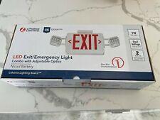 Lot Of 4 Led Exit Emergency Light Combo Adjustable Optics Lithonia Lighting New