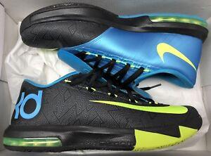 e000d4ea2b04 Nike KD VI 6 Black Volt Vivid Blue Grey 599424-010 Sz 10