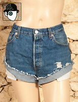 VINTAGE LEVIS 501 HIGH WAISTED CUT OFF 'BOYFRIEND' SHORTS - W34 - UK14 - (Q)