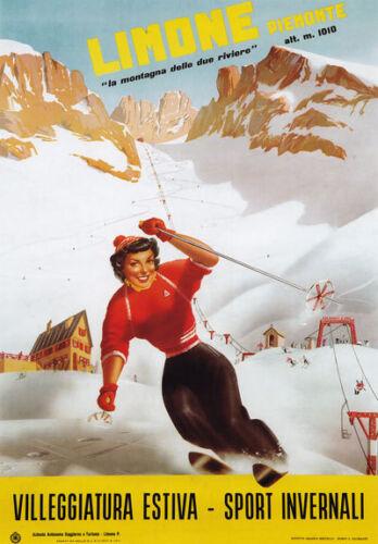 Tv12 Vintage 1950/'s Italian Italia Limone Esquí Ski viajar Cartel A2 A3