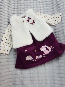 Dress Top And Bolero Baby & Toddler Clothing Girls' Clothing (newborn-5t) Qualified Nursery Time Baby Girls Plum Corduroy 3pc Outfit