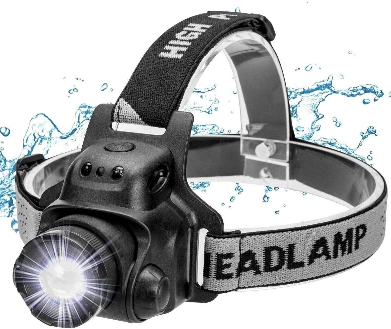 Ezfull Linterna frontal con sensor de gestos, LED, USB, resistente al agua,