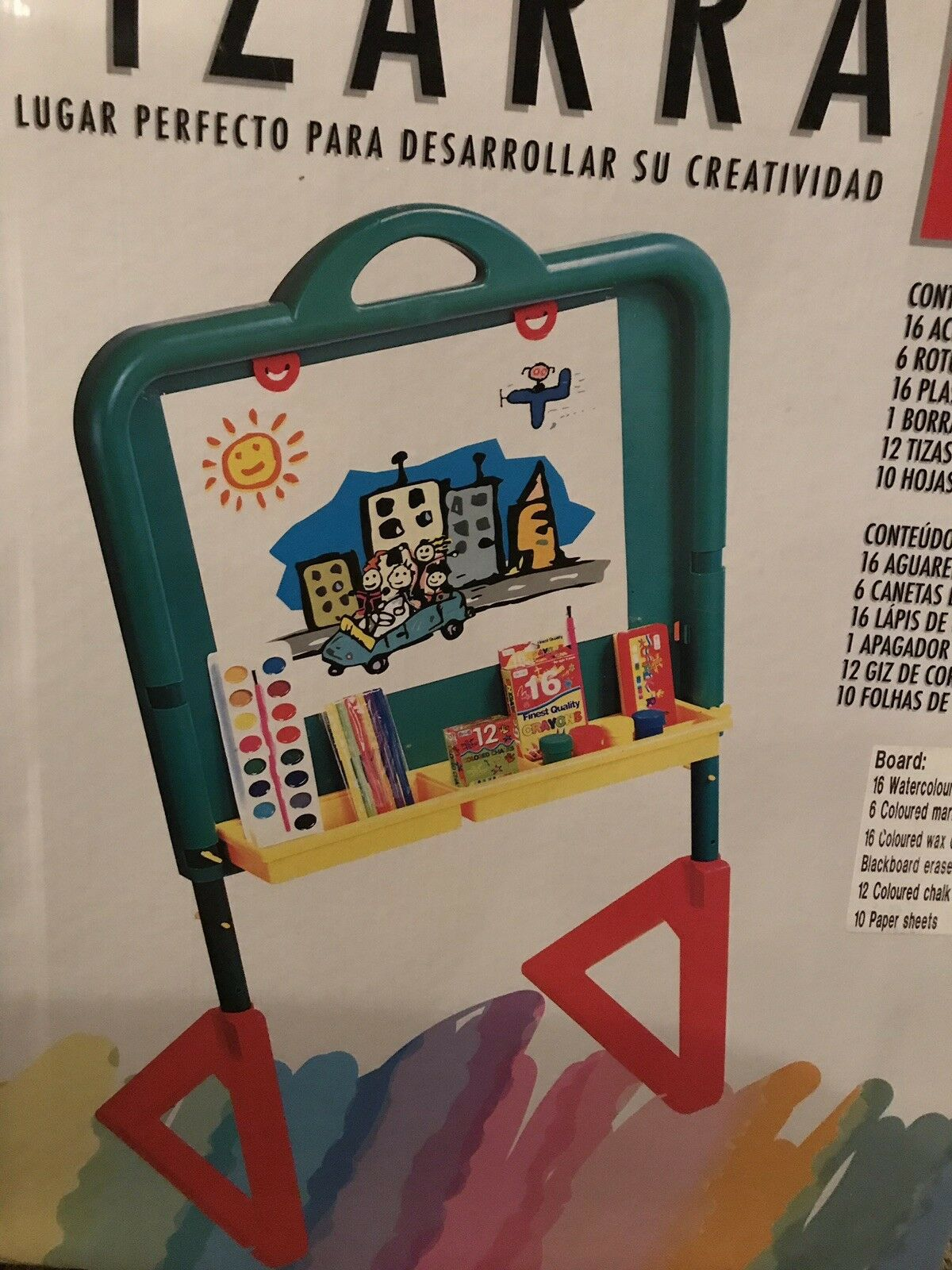 Pizzara Easel Drawing Board activity Stand. Colouring Pens And Paints Etc