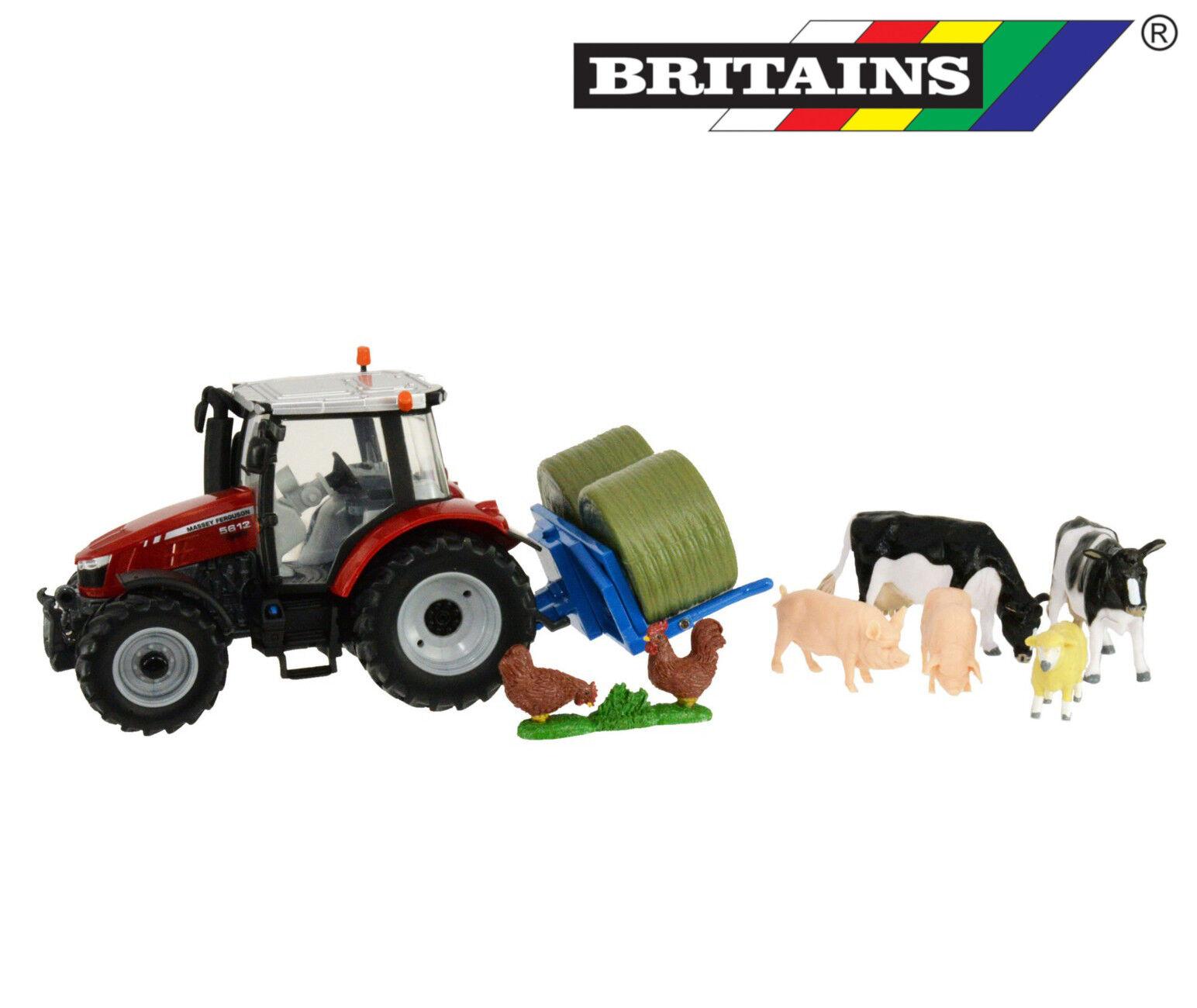 Britains 43205 Massey Ferguson 5612 riproduzione TRATTORE balle sollevatore animali 1 3 2