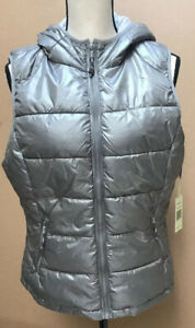 Tangerine-Active-Insulated-Silver-Gray-Puffer-Vest-Hooded-Ladies-Large-Lined-NWT