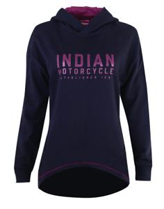 INDIAN MOTORCYCLE WOMENS BLACK LOGO PULLOVER HOODY DROPPED BACK HEM S M L XL 2X