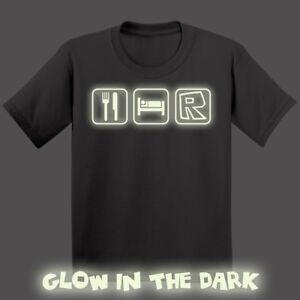 4ae907cf GLOW IN THE DARK Eat Sleep Roblox Kids T-shirt Boys Girls Xmas Gift ...