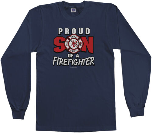 Threadrock Boys Proud Son of a Firefighter Youth L//S T-shirt Dad Daddy Fireman