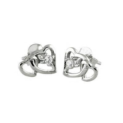 Sterling Silver 925 Interlocked Double Heart CZ Stud Earrings