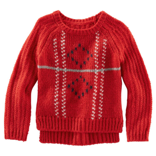 Oshkosh Bgosh Girls Red Fair Isle Diamond SWEATER Long Sleeve Pullover 4,5,6 NWT