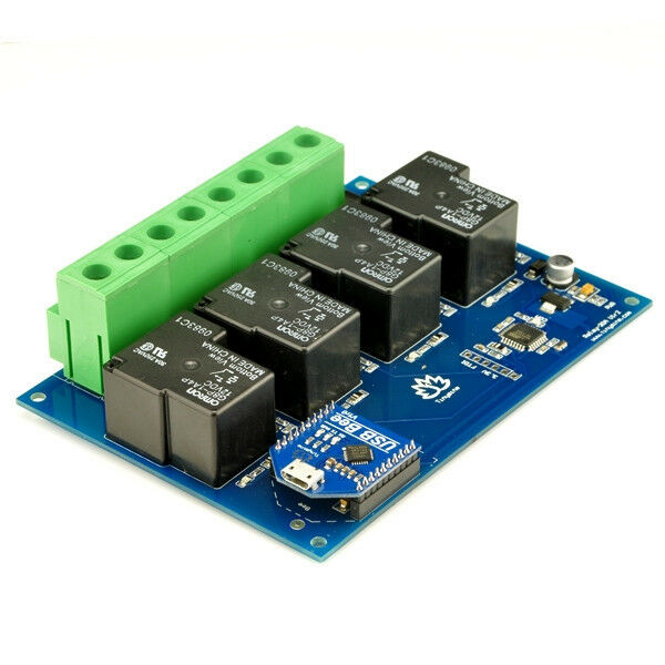 Tinysine TSRU430- 4 Channel 30Amp 12V DC USB Relay Board