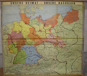 Schulwandkarte Wandkarte Karte Deutschland Nach 1945 Brd Ddr Osten