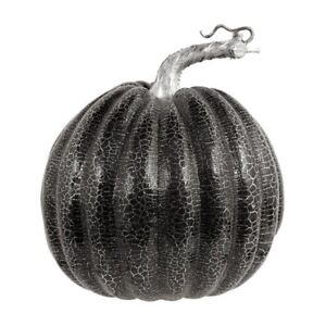 Halloween-Black-Crackle-Silver-Pumpkin-Spooky-Party-House-Decoration-Accessory