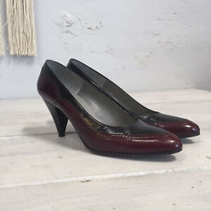 a6c76b75276b7 Vtg Pappagallo Pumps Heels Shoes 40s Style Cordovan Black Wingtip ...