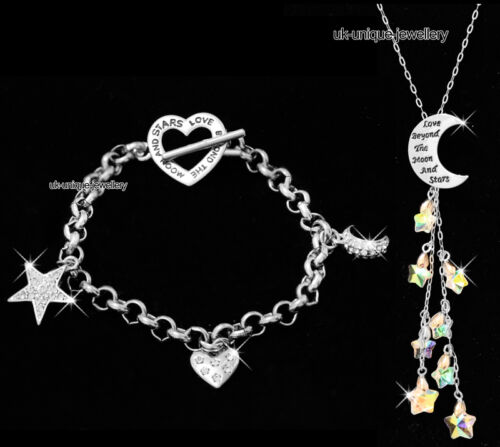 Love Beyond The Moon and Stars Necklace Silver Wife Gift For Her Women Valentine