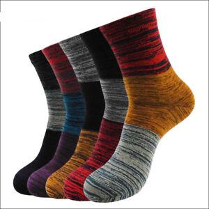 5-Pairs-Mens-Cotton-Socks-Lot-Colorful-Stripes-Casual-Dress-Socks